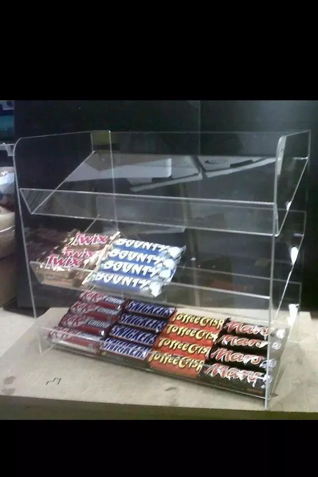 Acrylic Plastic Counter Confectionery Display Unit 40 Shelves All Custom Plastic Counter Display Stands